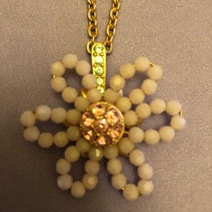 NWT Swarovski Beaded Flower Necklace